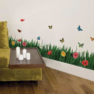 Grass with Butterflies and Flowers