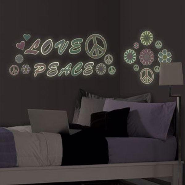 Peace & Love Glow in the Dark Wall Art Kit