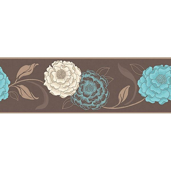Esme Chocolate Cream & Teal Border