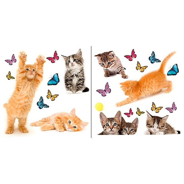 Playful Cats & Butterflies Window Decals