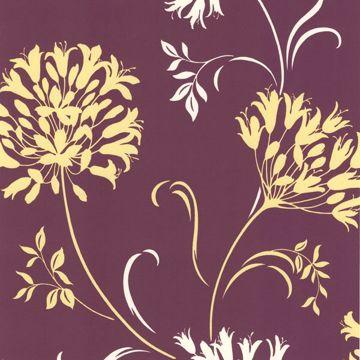 Nerida Purple Floral Silhouette