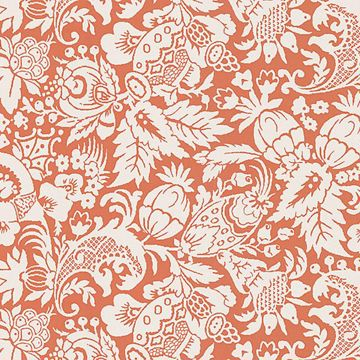 Bali Orange Scrolling Pattern