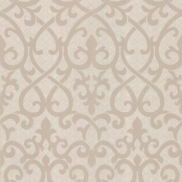 Giselle Light Brown Ironwork Damask