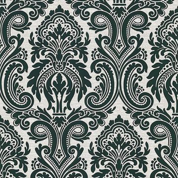 Apollo Black Modern Damask