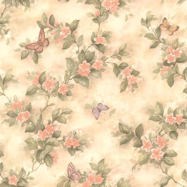 Lisa Peach Butterfly Floral