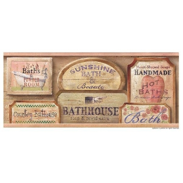 Bath House Pink Vintage Bath Border
