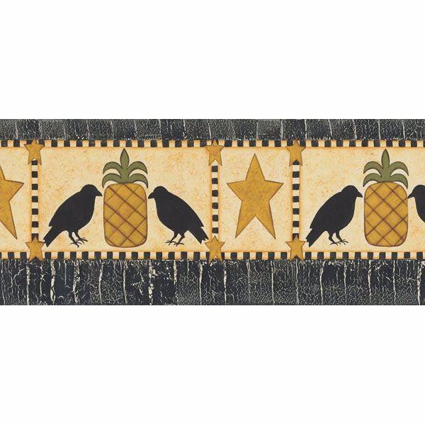 Poe Mustard Pineapples, Birds And Stars Border