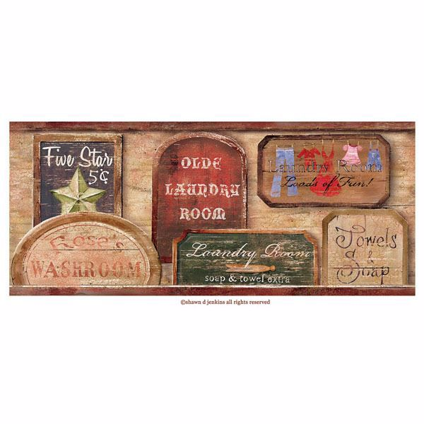Wash Room Brown Vintage Laundry Signs