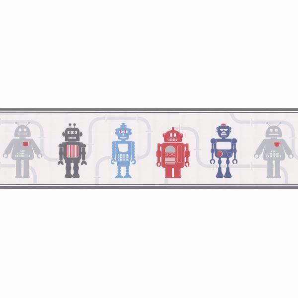 Robot League Border Silver Robots Border
