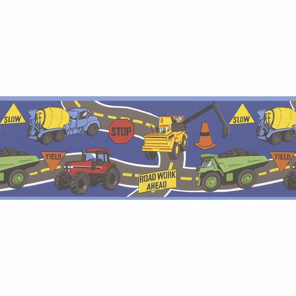 The Big Dig Dark Blue Construction Trucks Border