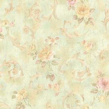 Julietta Light Green Floral Scroll