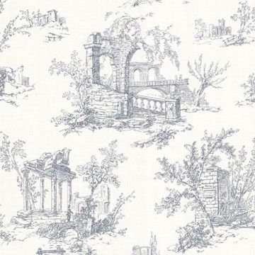 Antiquity Blue Linen Toile