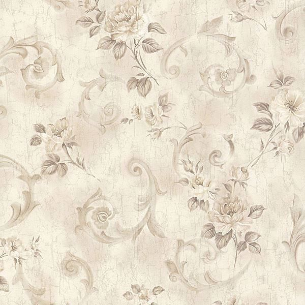 Eloise Taupe Floral Scroll
