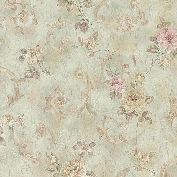 Eloise Mint Floral Scroll