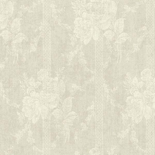 Taupe Floral Bouquet Stripe