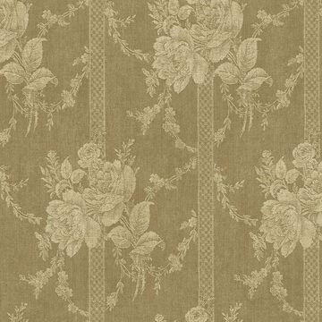 Gold Floral Bouquet Stripe