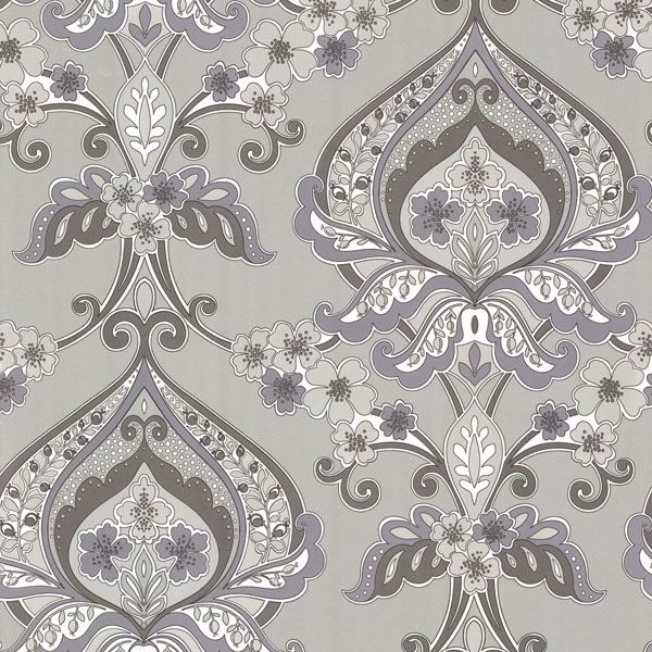 Ashbury Grey Paisley Damask