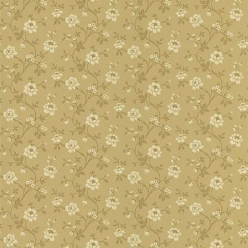 Cottage Floral Light Brown Stencil Floral