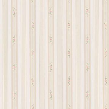 Rosebud Taupe Floral Stripe