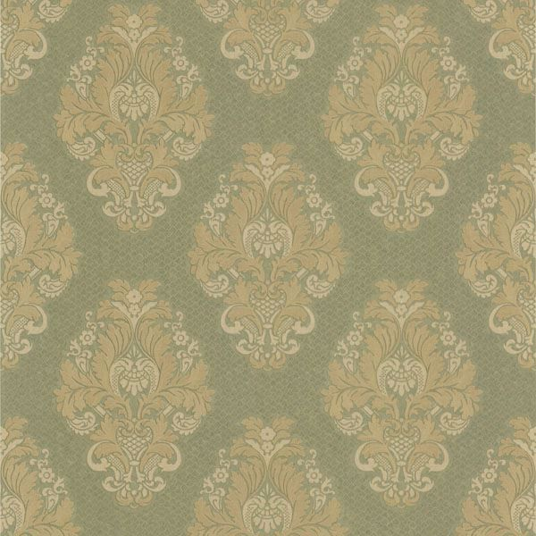 Bromley Olive Satin Damask