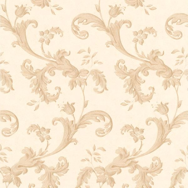 Isleworth Light Brown Floral Scroll