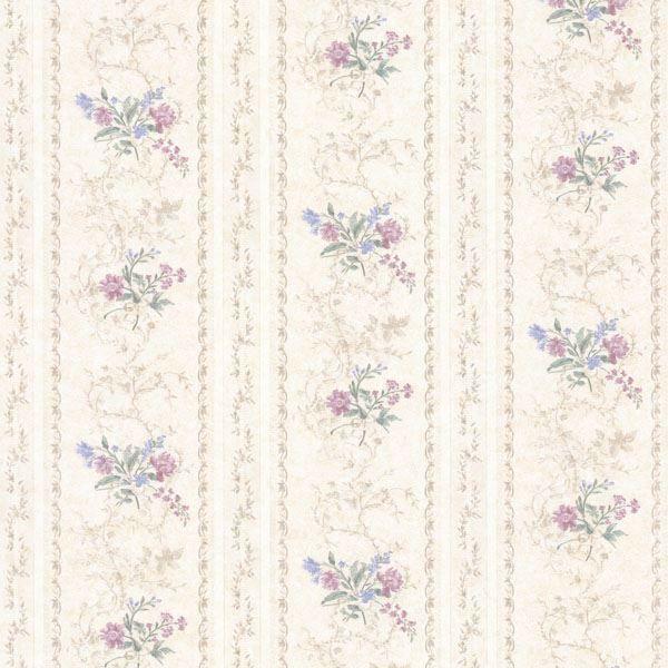 Maury Purple Floral Bouquet Stripe