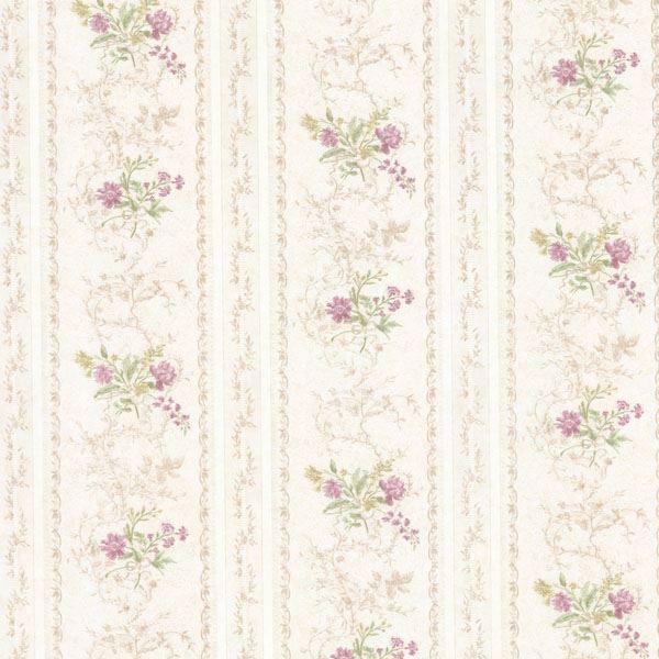 Maury Mauve Floral Bouquet Stripe