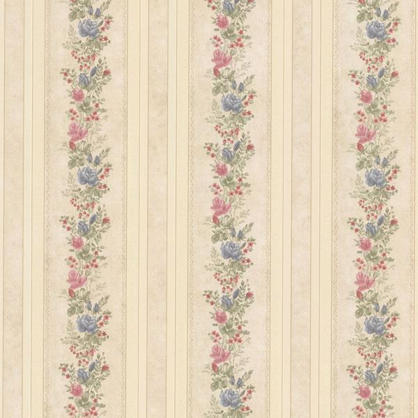 Alexis Beige Satin Floral Stripe