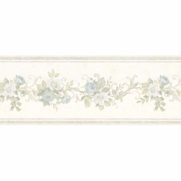 Lory Light Blue Floral Border