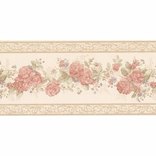 Tiff Peach Satin Floral Border