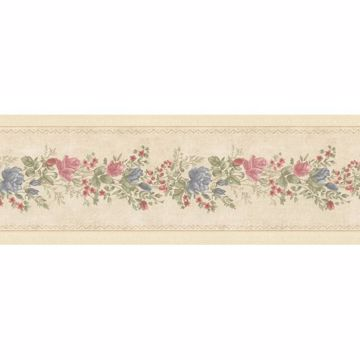 Alexa Beige Floral Meadow Border