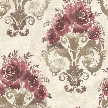 Allana Burgundy Scrolling Floral Urn