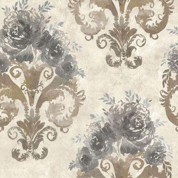 Allana Grey Scrolling Floral Urn