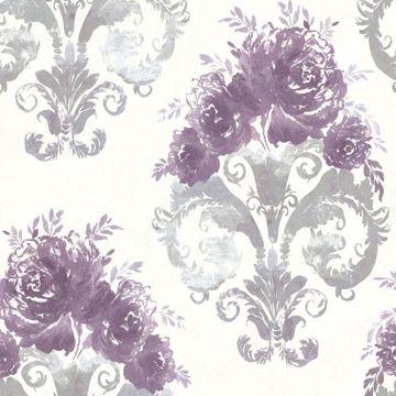 Allana Purple Scrolling Floral Urn