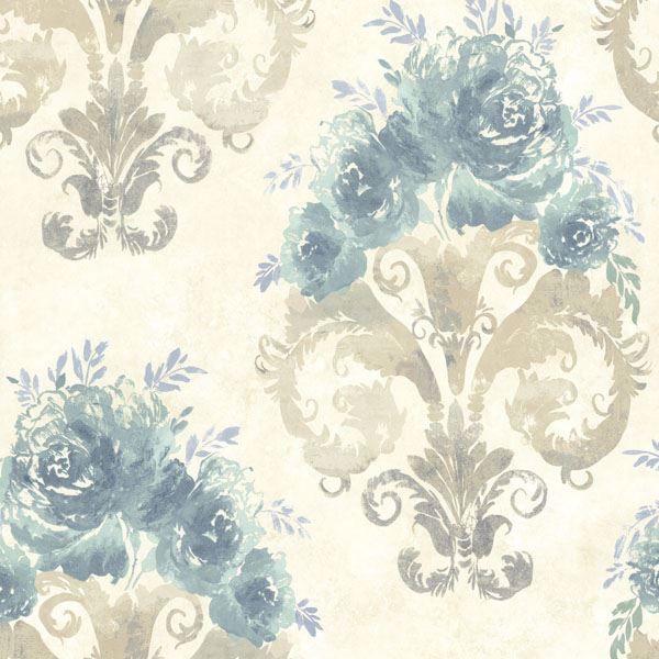 Allana Aqua Scrolling Floral Urn