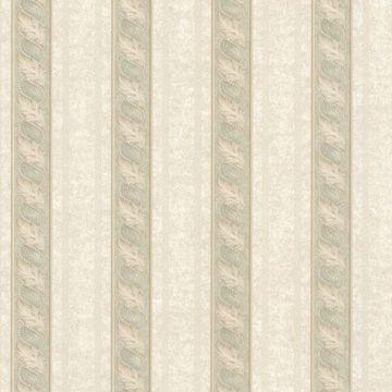 Montague Green Scroll Stripe