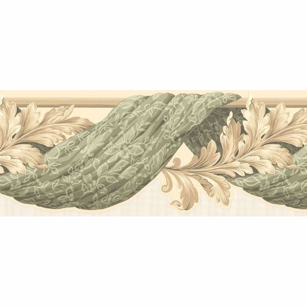 Green Curtain Scroll Border