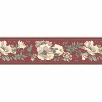 Red Floral Trail Border