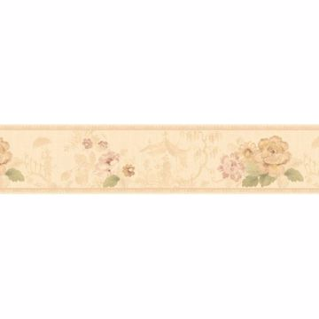 Cream Toile Scenic Floral Border