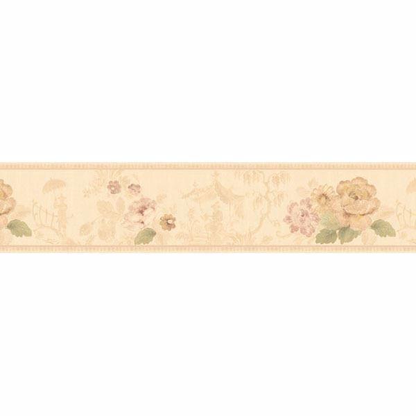 Cream Toile Scenic Floral Border