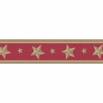 Red Cameo Star Border