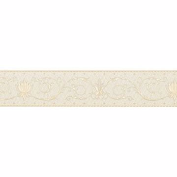 Cream Fleur-De-Lis Scroll Border