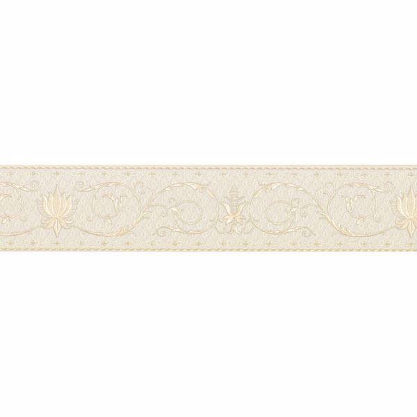 Cream Fleur-De-Lis Scroll Border