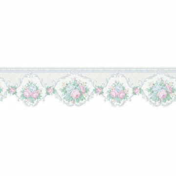 White Cameo Floral Scroll Border