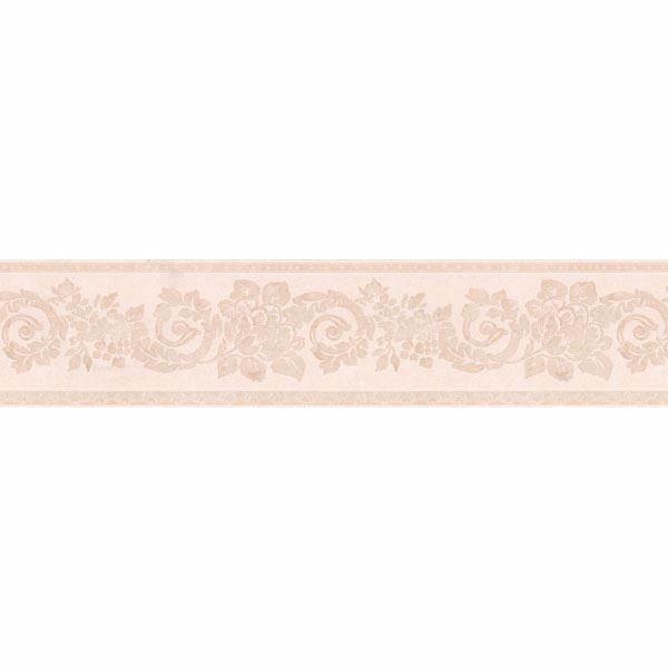 Blush Floral Scroll Silhouette Border