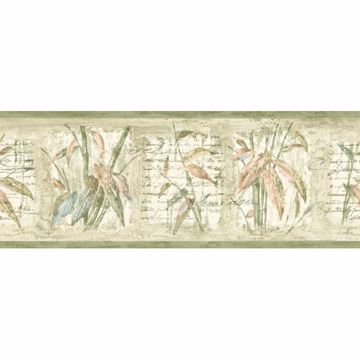 Green Bamboo Leaf Cameo Border
