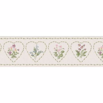 Cream Vine Cameo Floral Heart Border
