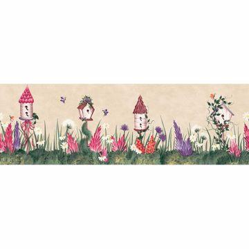 Multicolor Birdhouse And Garden Border