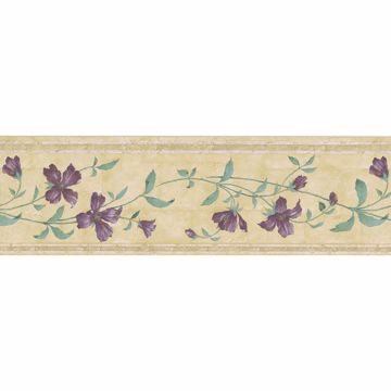 Khaki Blooming Floral Trail Border
