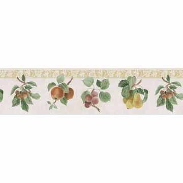 Green Fruit Print Border